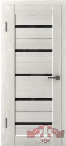 Дверь Л1ПГ5 стекло черное (беленый дуб, остекленная экошпон), фабрика Владимирская фабрика дверей