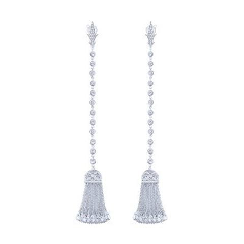 4805- Серьги с кисточками  из серебра с цирконами огранки бриолет