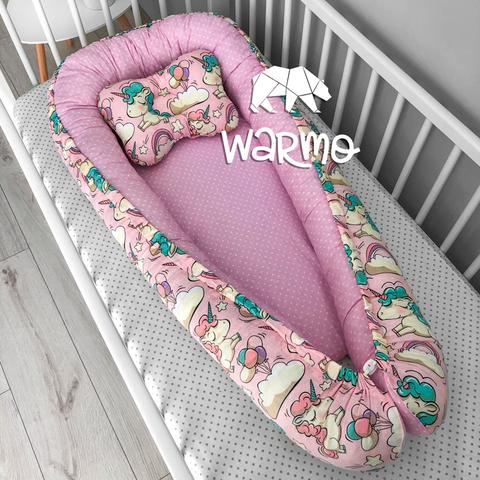 Кокон (гнездышко) для новорожденных Warmo™ РОЗОВЫЕ ЕДИНОРОГИ