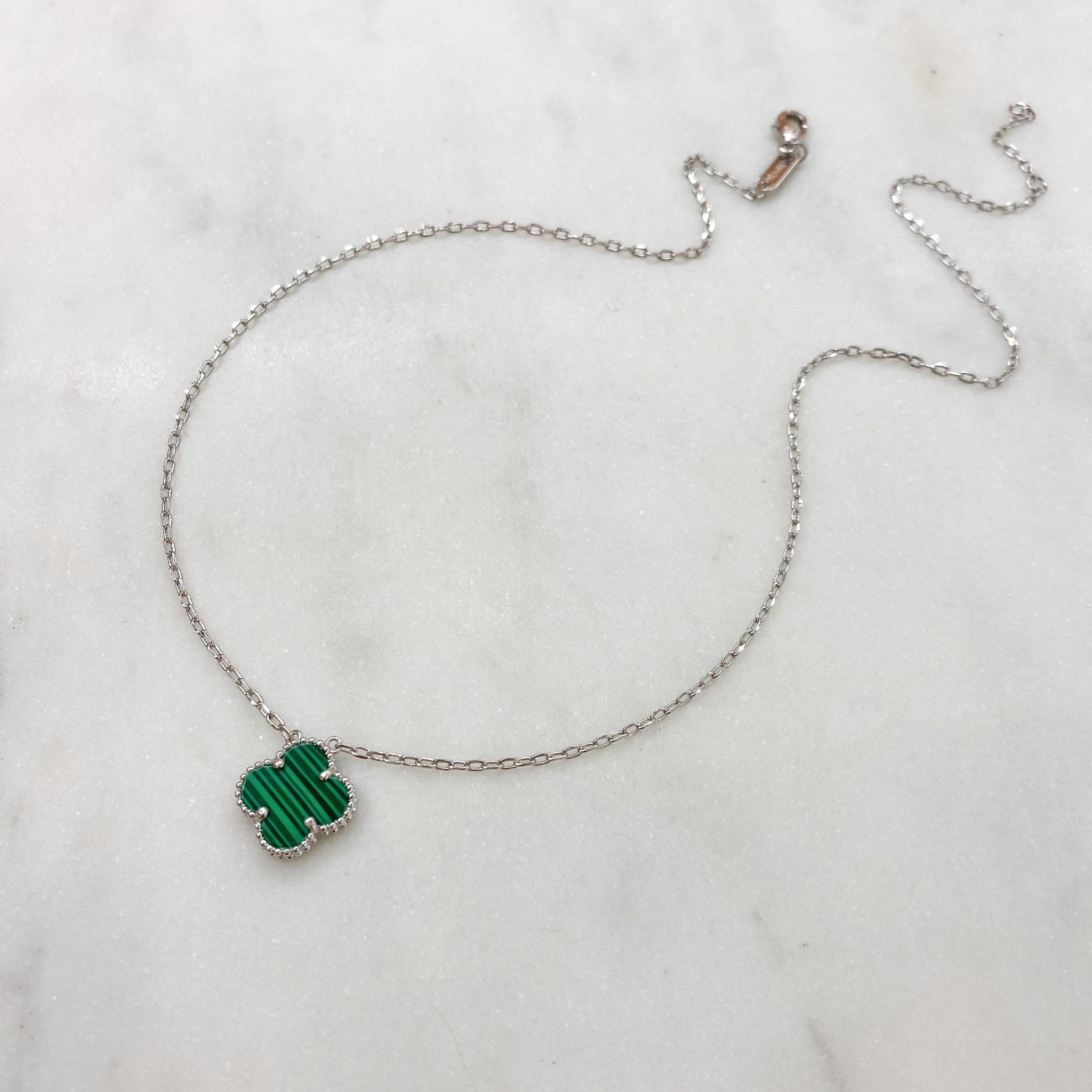 Кулон Клевер (зеленый, серебристый)
