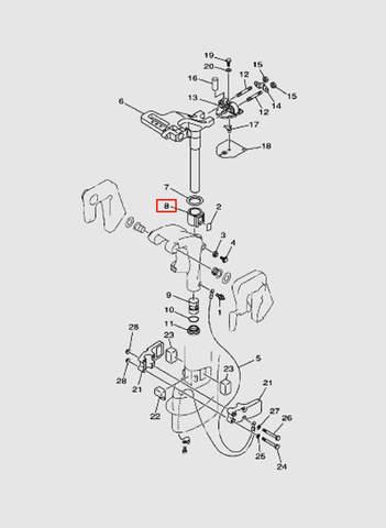 Втулка поворотного кронштейна  для лодочного мотора T15, OTH 9,9 SEA-PRO (14-8)
