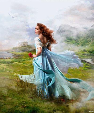 Картина раскраска по номерам 40x50 Девушка в голубом платье в горах