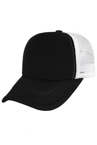Бейсболка с сеткой черная с белым фото