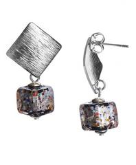 Серьги из муранского стекла кубические Арлекино под серебро Metallo Rombo