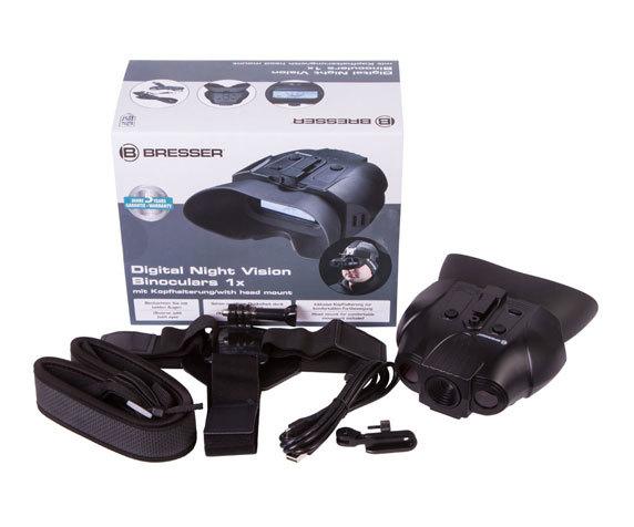 Бинокль ночного видения цифровой Bresser 1–2x, с креплением на голову - фото 2 - комплект поставки