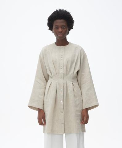 Платье-халат с объемными рукавами бежевый