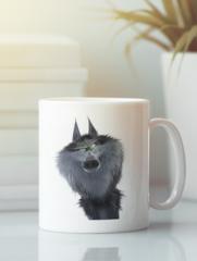 Кружка с изображением Волк (Wolf) белая 003