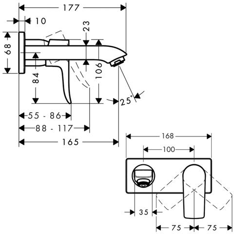 Смеситель для раковины настенный излив 165 мм Hansgrohe Metris,  31085000 схема