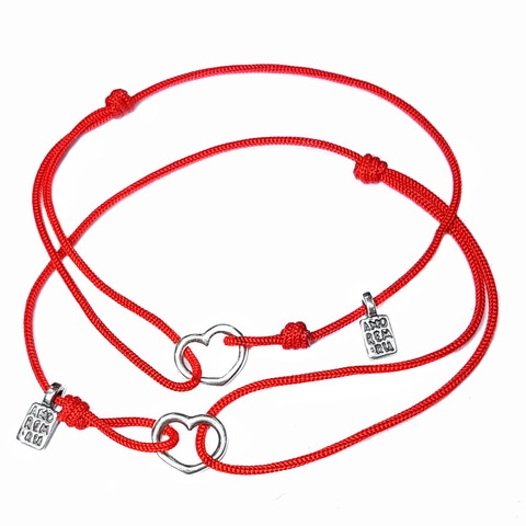Mother Daughter gift Heart Pair Bracelets, sterling silver