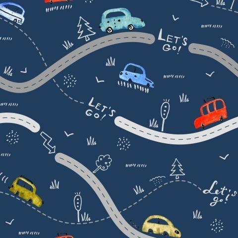 Поехали! Машинки на тёмно-синем фоне