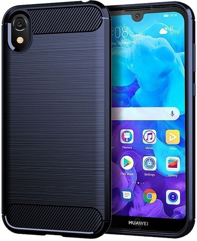 Чехол Carbon для Huawei Y5 (2019)/Honor 8S серия Карбон | синий