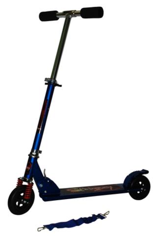 Самокат складной детский двухколесный с амортизатором KM-808B/B. Цвет - синий (10315)