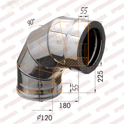 Отвод-сэндвич 90° d120х200мм (430/0,5 мм+оцинк) Ferrum