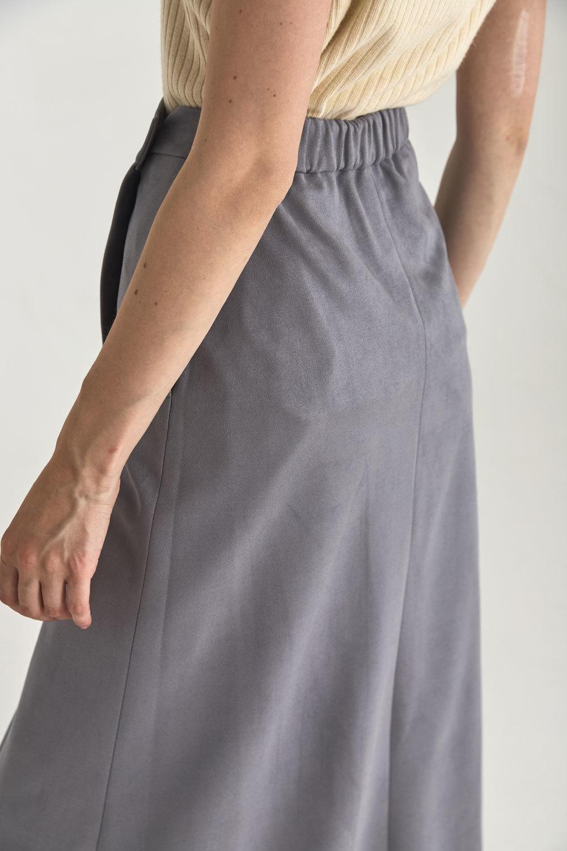 Юбка длинная на запах из искусственной замши, серый