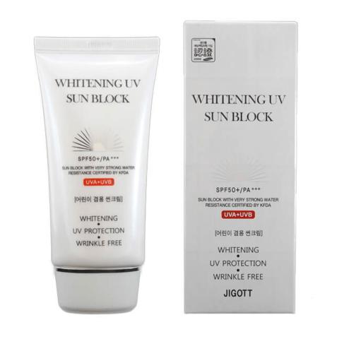 Jigott  Осветляющий солнцезащитный крем Whitening UV Sun Block Cream, 70 мл