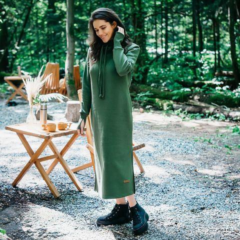 Warm hooded maxi dress for women - Khaki