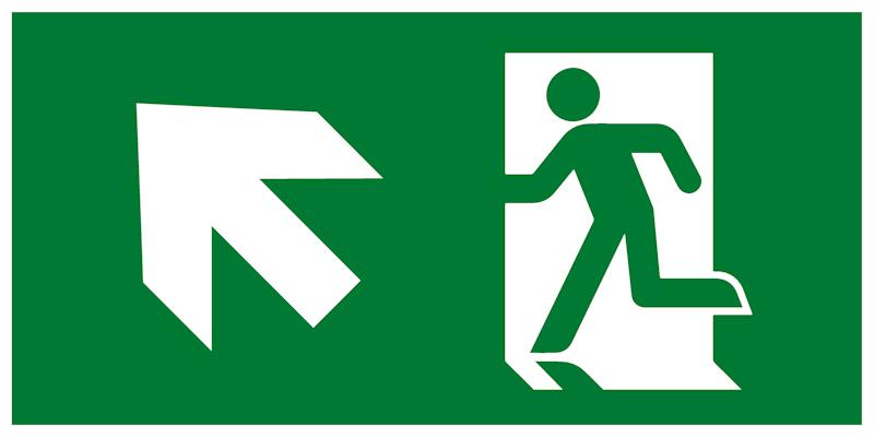 Современный комбинированный эвакуационный знак Е34 – Направление к эвакуационному выходу налево вверх
