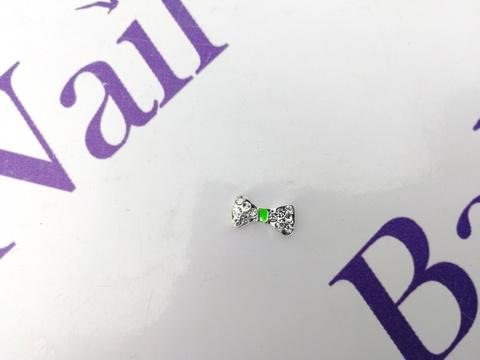 Украшения для ногтей из металла (бантик с зеленым)