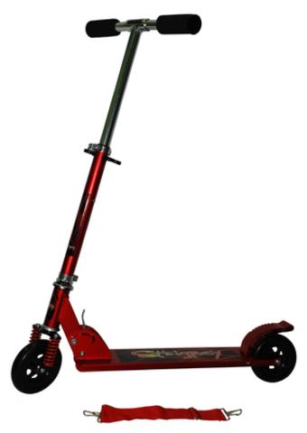 Самокат складной детский двухколесный с амортизатором KM-808B/R. Цвет - красный (10316)