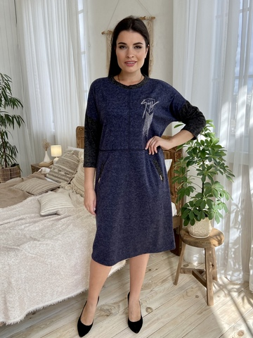 Ярослава. Зручне стильне плаття плюс сайз. Синій