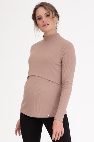 Лонгслив для беременных и кормящих 11921 бежевый