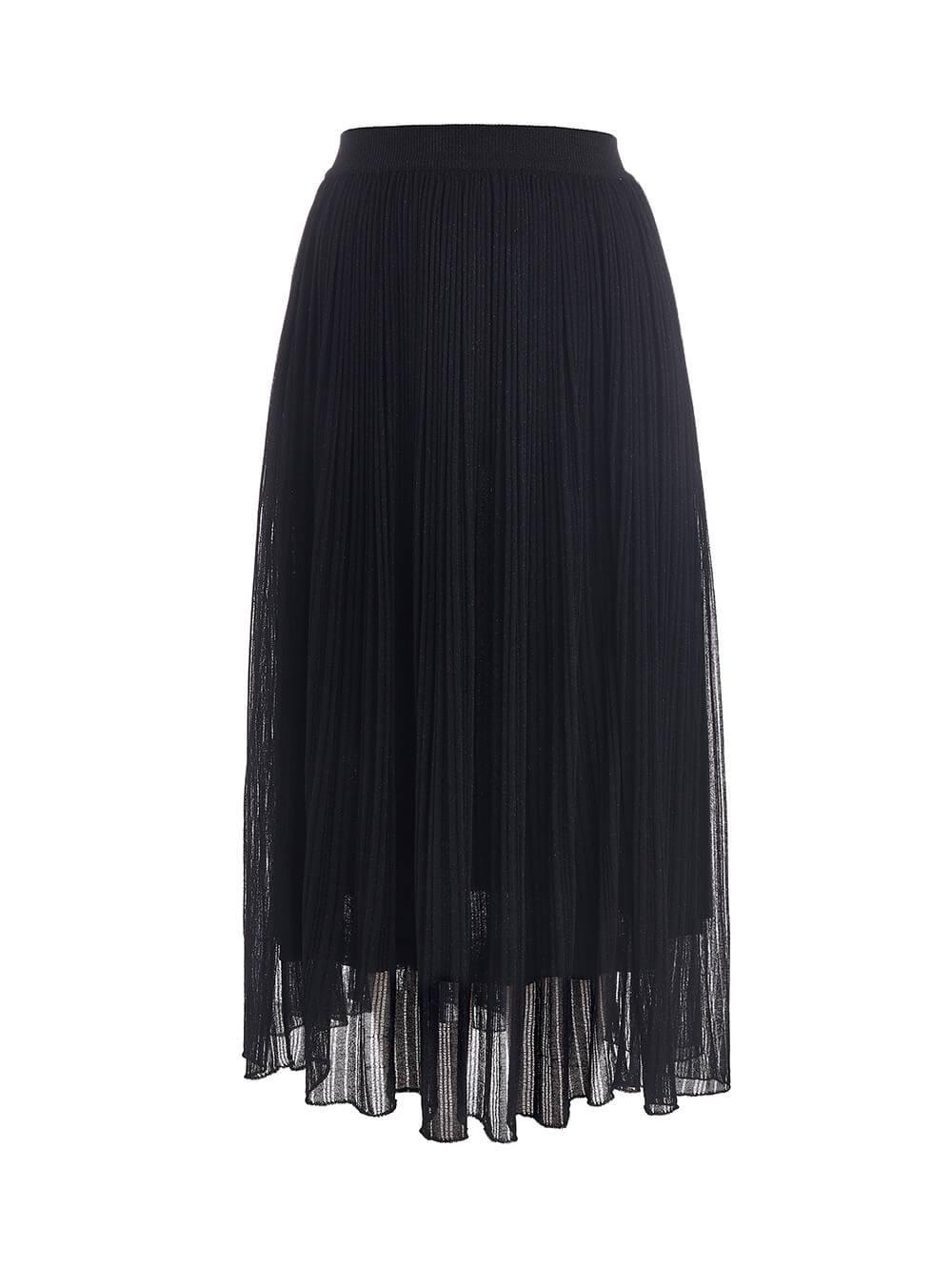 Женская двухслойная юбка черного цвета из вискозы - фото 1