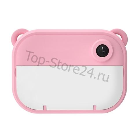 Детский фотоаппарат моментальной печати мишка розовый