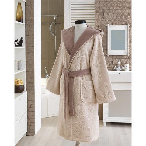 LEAF бежевый махровый женский халат Soft Cotton (Турция)
