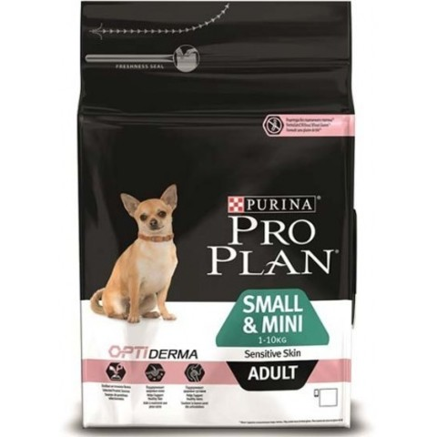 Purina Pro Plan Small & Mini Adult Sensitive Skin Salmon and rice сухой корм для взрослых собак мелких пород с лососем и рисом 7 кг