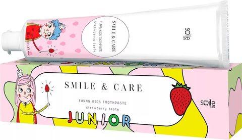 Зубная паста детская клубника SMILE & CARE JUNIOR Strawberry, 30 ml
