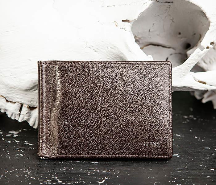WL323-2 Мужской кожаный зажим для купюр «Atos» с монетницей фото 02