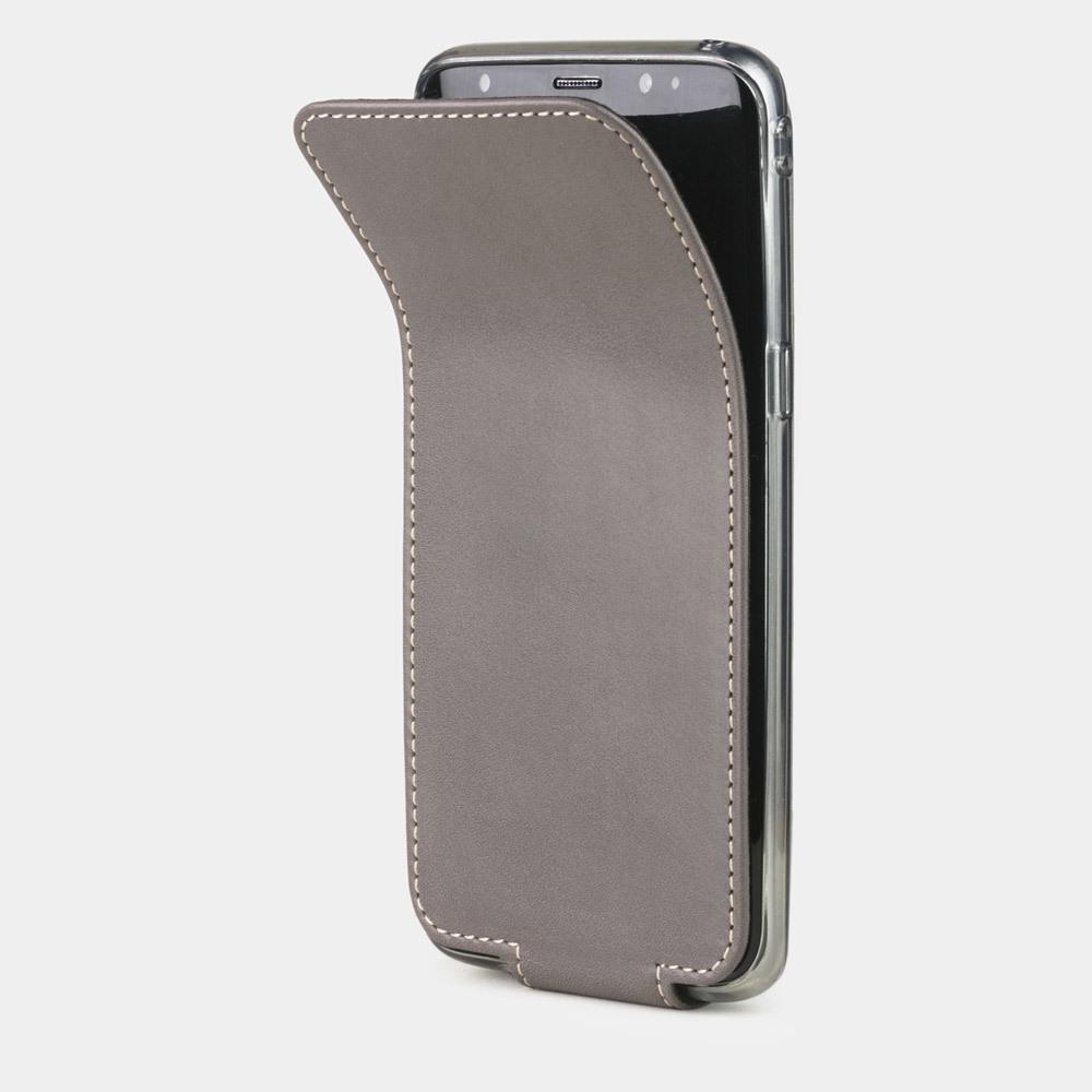 Чехол для Samsung Galaxy S8 из натуральной кожи теленка, серого цвета