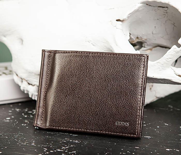 WL323-2 Мужской кожаный зажим для купюр «Atos» с монетницей фото 03