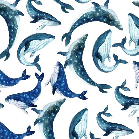 Ткань с милыми звездными китами