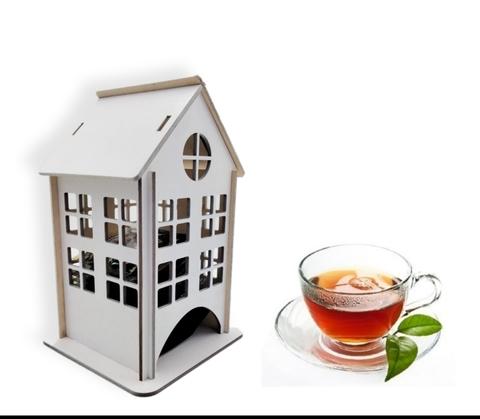 Чайный домик, Подставка для чайных пакетиков, 18х12х12 см. Цвет Белый.