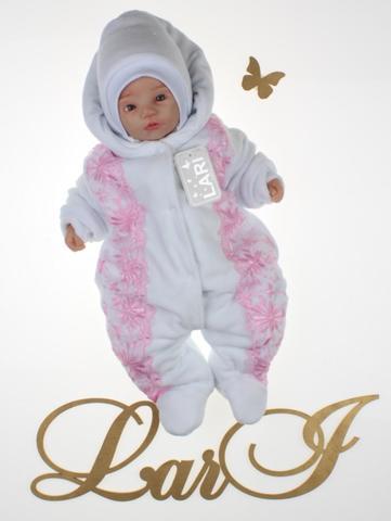 Велюровый комбинезон для новорожденных Аля (белый/розовый)