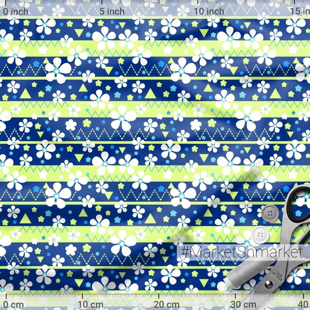 Белые цветочки на синем