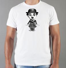 Футболка с принтом Чарли Чаплин (Charlie Chaplin) белая 0011