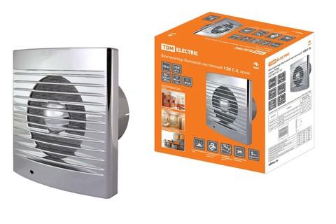 Вентилятор бытовой настенный 120 С-2, хром TDM