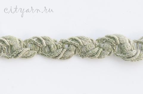 Тесьма льняная плетёная, цвет листьев шалфея,  B11207.00/3, ширина 1.5 см, цена указана за 50 см
