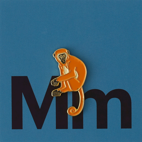 Значок металлический Зоопарк: Обезьянка