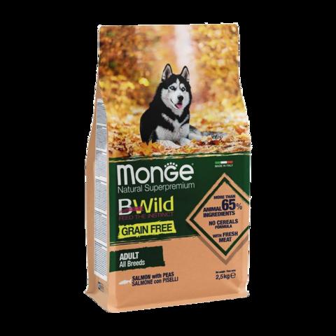 Monge Dog BWild Grain Free Сухой корм для взрослых собак всех пород из лосося, беззерновой