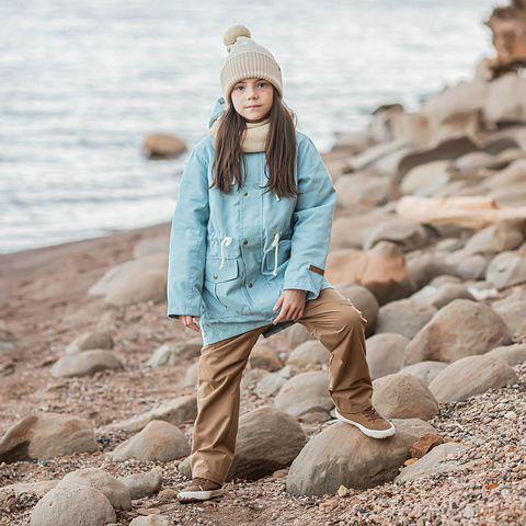 Demi-season parka with fur for teens - Light Blue