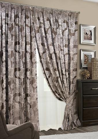 Комплект штор Салют с тюлем коричневый