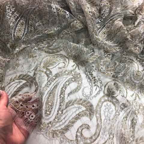 Кружевное полотно RM Серебро-золото 908071-G
