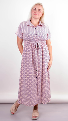 Сара. Стильна міді сукня для повних. Ромб персик.