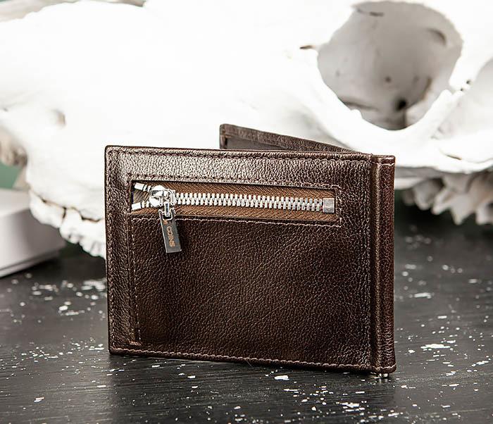 WL323-2 Мужской кожаный зажим для купюр «Atos» с монетницей фото 05
