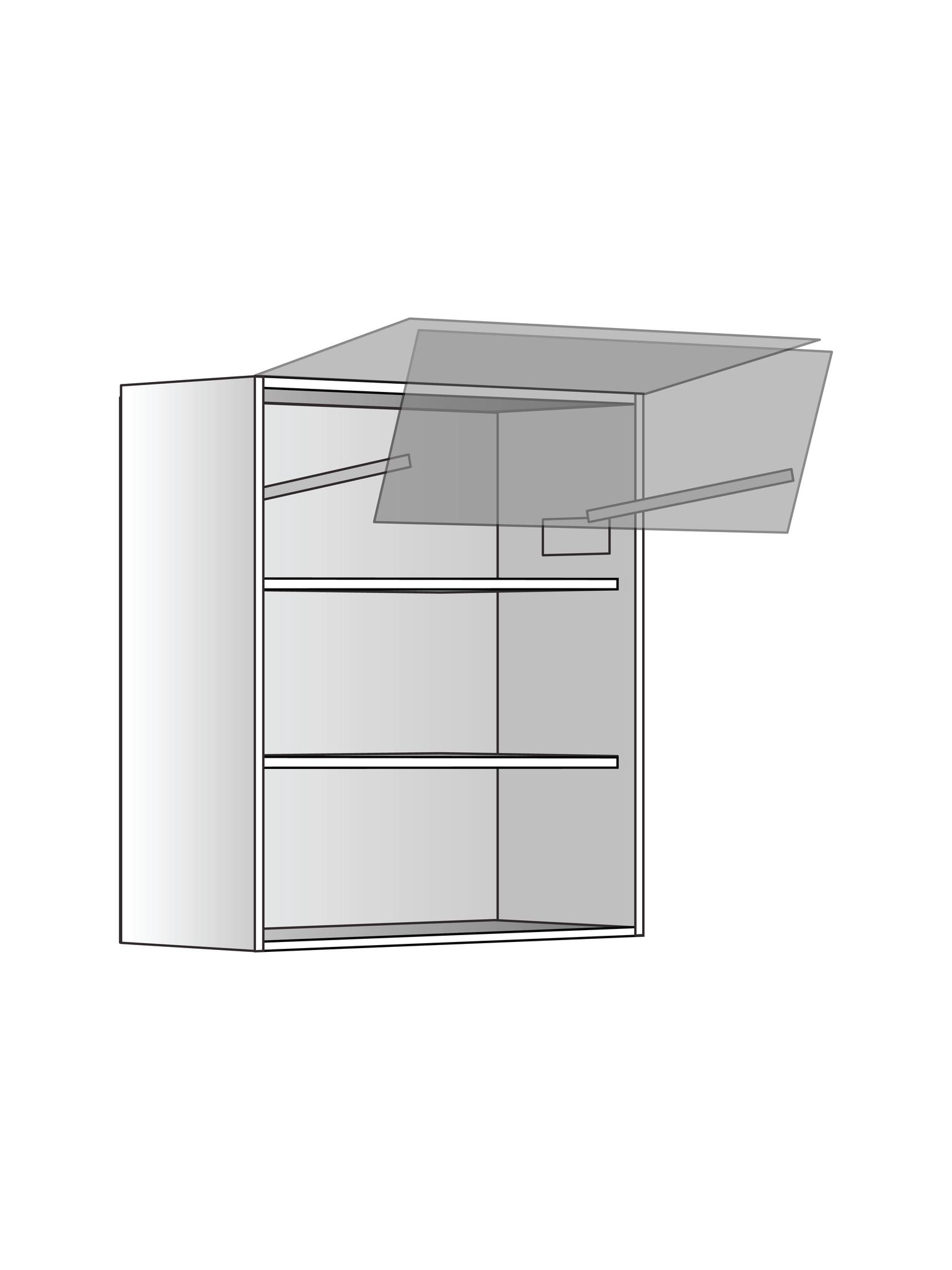 Верхний шкаф c 2 полками и подъемником, 720Х600 мм