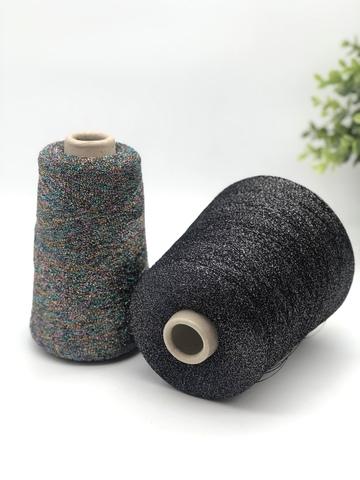 Вискоза с люрексом BIL черно-фиолетовый с серебром