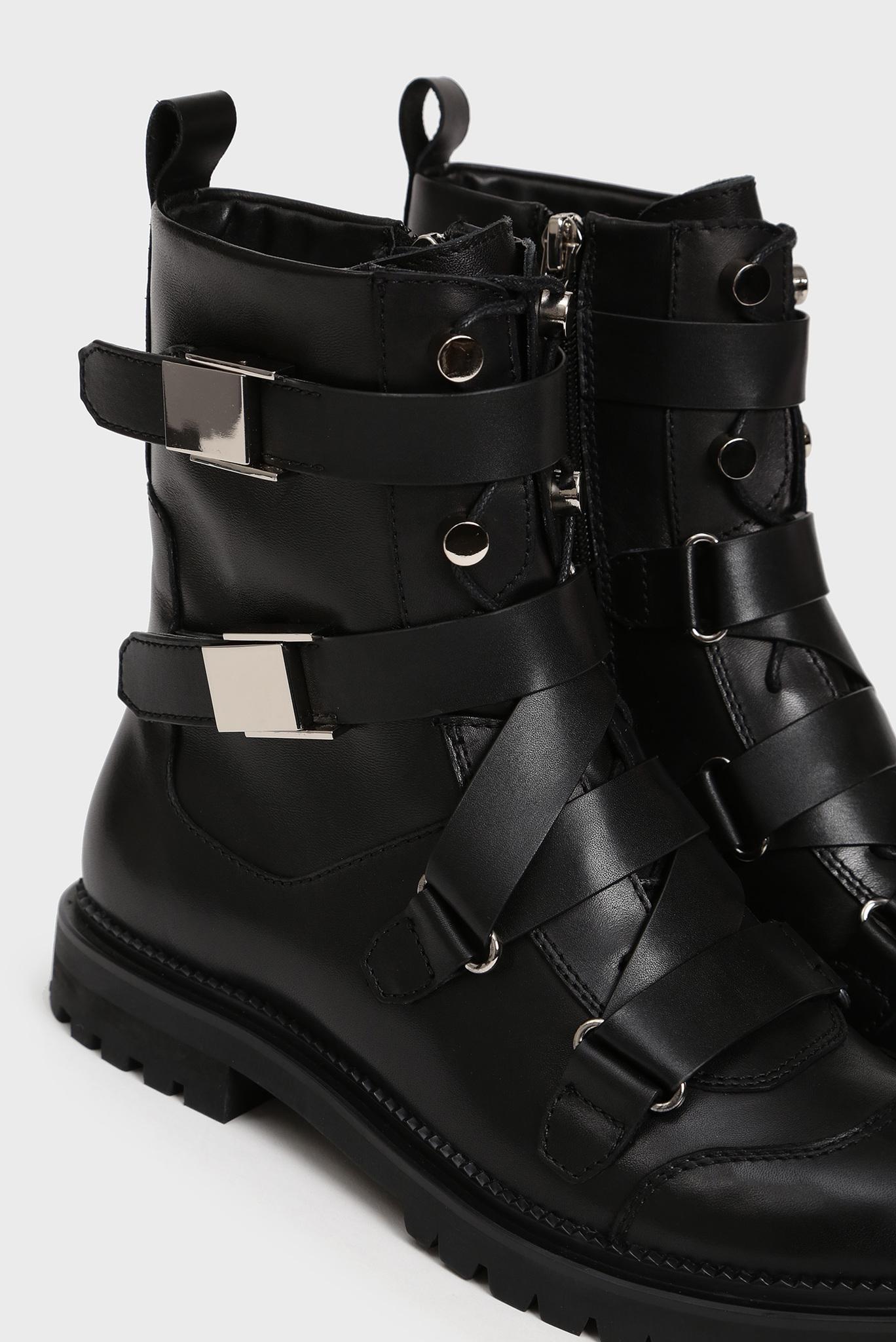 Женские черные кожаные ботинки Jaysy Preppy